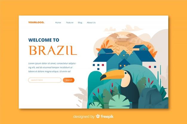 Benvenuto nel modello di landing page del brasile Vettore gratuito