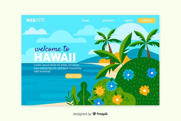 Benvenuto nel modello di landing page delle hawaii Vettore gratuito