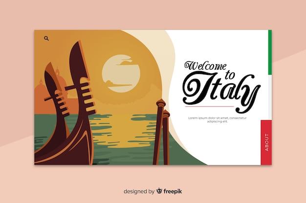 Benvenuto nel modello di landing page di venezia Vettore gratuito