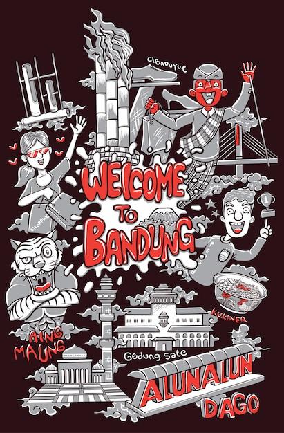 Benvenuto nell'illustrazione della città di bandung Vettore Premium
