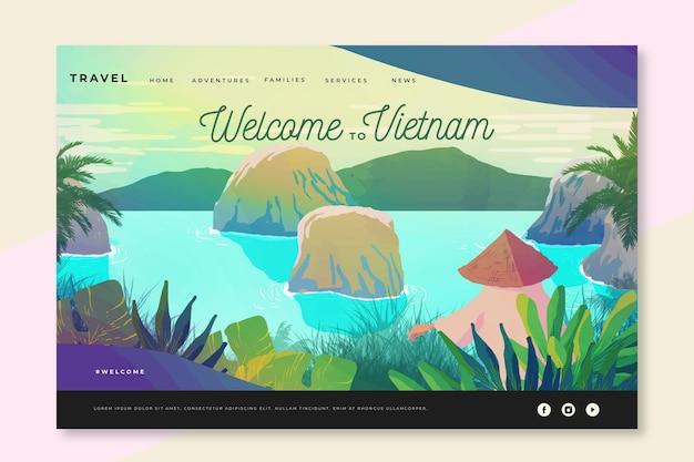 Benvenuto nella landing page del vietnam Vettore gratuito