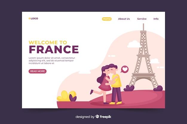 Benvenuto nella landing page della francia Vettore gratuito