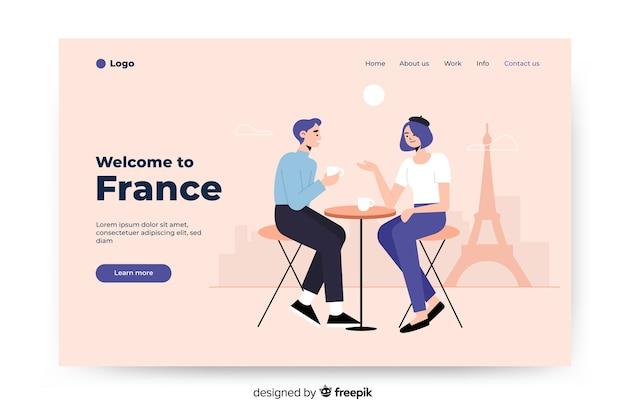 Benvenuto nella pagina di destinazione colorata della francia Vettore gratuito