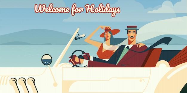 Benvenuto per le vacanze illustrazione retrò di uomo e donna che guida in auto cabriolet d'epoca. Vettore gratuito