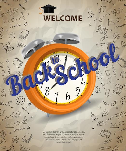 Benvenuto, torna a scuola lettering con sveglia Vettore gratuito