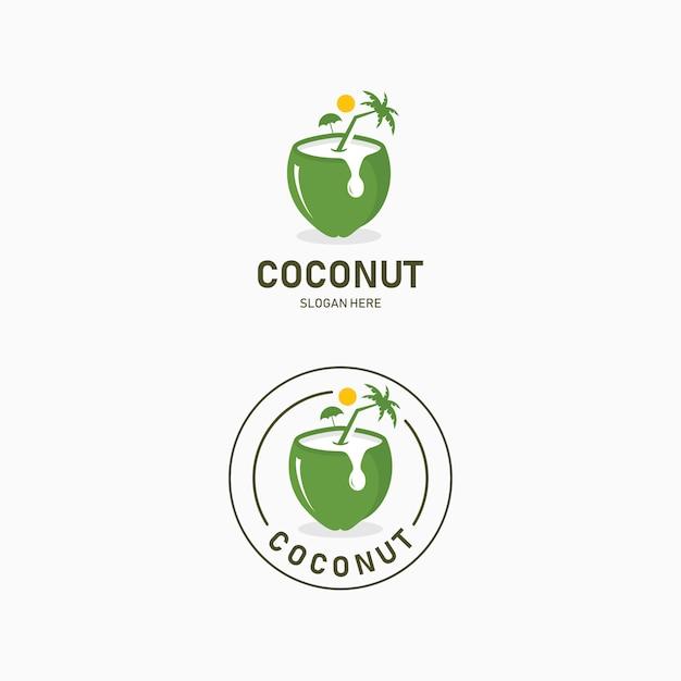 Bere acqua di cocco logo design. resort logo con spiaggia e palme da cocco vista nella bevanda di cocco Vettore Premium