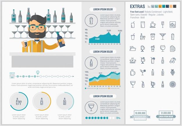 Bere design piatto infografica modello e set di icone Vettore Premium