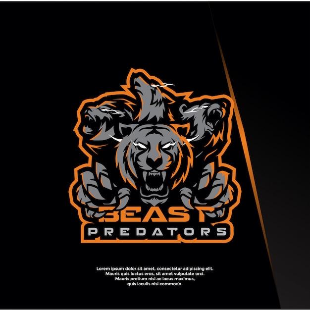 Bestia, animale, modello logo sport predatore Vettore Premium