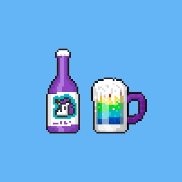 Bevanda arcobaleno di unicorno pixel. 8bit. estate. Vettore Premium