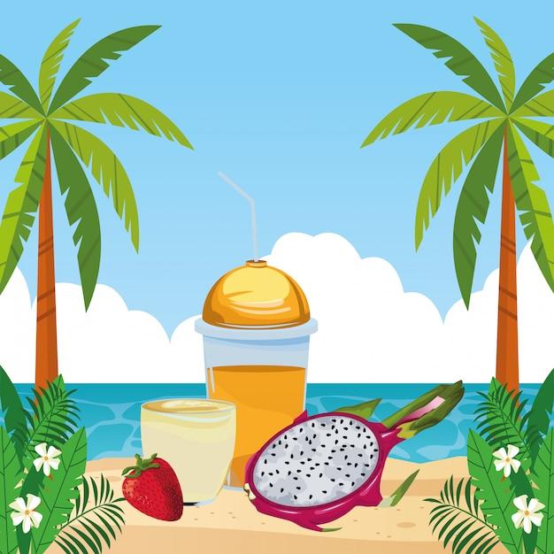 Bevanda di frutta tropicale e frullato Vettore gratuito