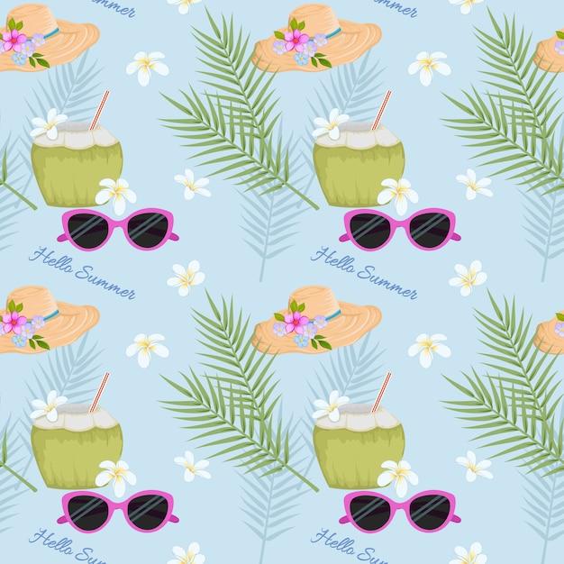 Bevanda estiva in cocco sulla spiaggia con motivo a cappello e occhiali da sole. Vettore Premium