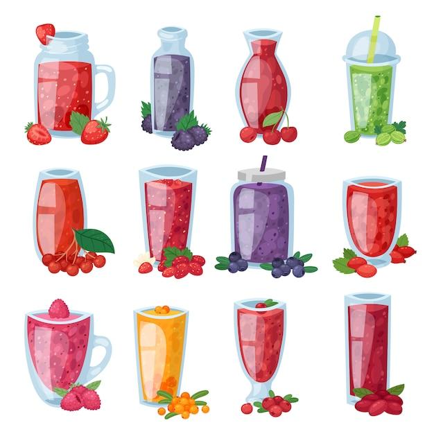 Bevanda sana della bacca del frullato in vetro o miscela fresca della bevanda dell'insieme dell'illustrazione del mirtillo e del lampone della fragola di succo berrylike Vettore Premium