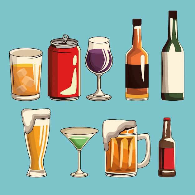 Bevande alcoliche isolate Vettore Premium