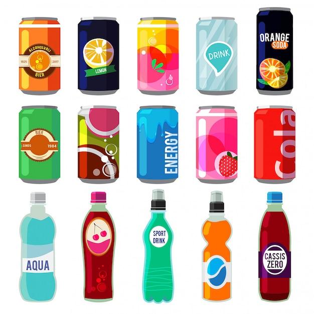 Bevande diverse in lattine e bottiglie metalliche. Vettore Premium