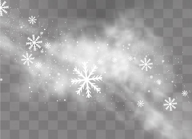 Bianco gradiente di neve e vento. Vettore Premium