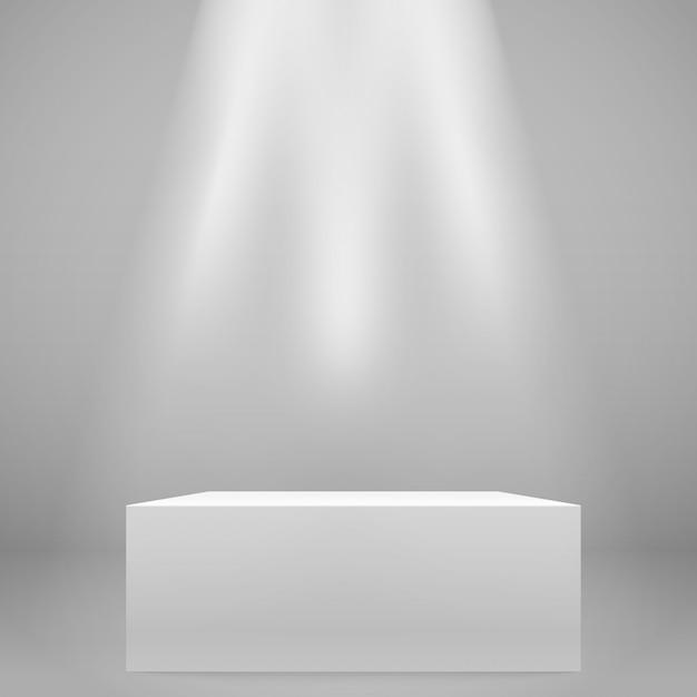 Bianco illuminato ampio stand sul muro. mockup di vettore Vettore Premium