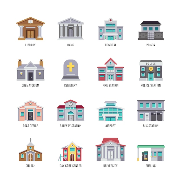 Biblioteca di edifici della città comunale, banca, ospedale, set di icone di prigione. Vettore Premium
