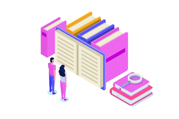 Biblioteca digitale online isometrica, negozio di libri online, e-learning, ebook. illustrazione. Vettore Premium