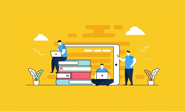 Biblioteca online in stile piatto Vettore Premium