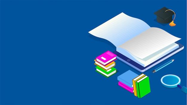 Biblioteca online isometrica. Vettore Premium
