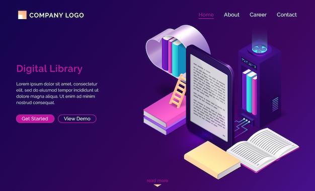 Biblioteca online, lettura elettronica isometrica Vettore gratuito