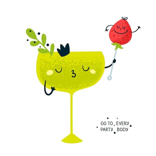Bicchiere con cocktail party e fragola Vettore Premium