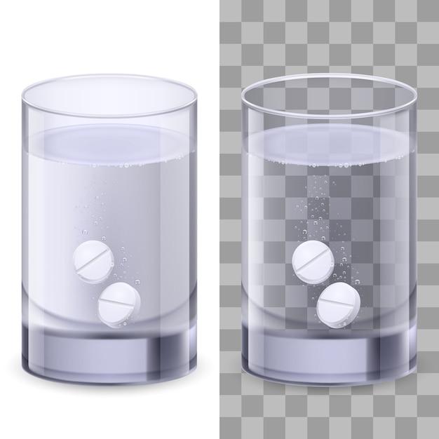Bicchiere d'acqua e pillole Vettore Premium
