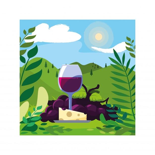 Bicchiere da vino con uva e porzione di formaggio Vettore Premium