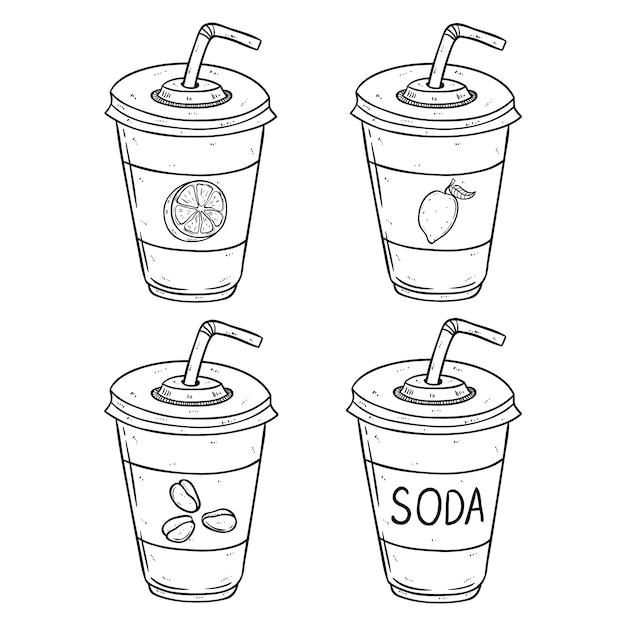 Bicchiere di carta soda con aroma di limone, arancia e caffè usando lo stile disegnato a mano Vettore Premium