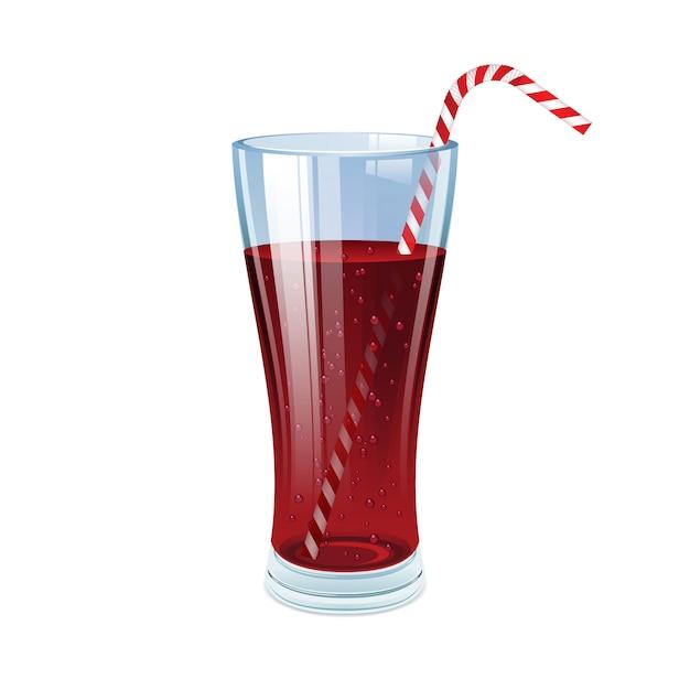 Bicchiere di cola con cannuccia da cocktail. Vettore Premium
