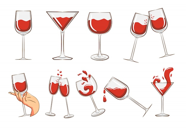 Bicchiere di vino set clipart Vettore Premium