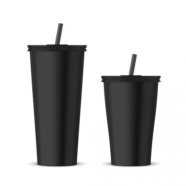 Bicchiere monouso in plastica nera Vettore Premium