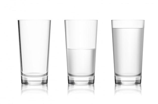 Bicchiere pieno e vuoto Vettore gratuito