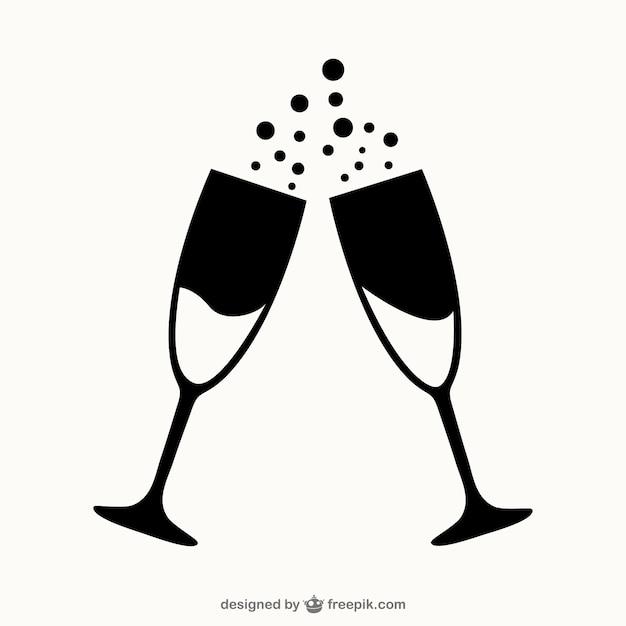 Bicchieri di champagne contorni Vettore gratuito