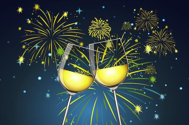 Bicchieri di champagne e fuochi d'artificio sullo sfondo Vettore gratuito