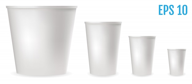 Bicchieri di plastica bianchi per il cibo Vettore Premium
