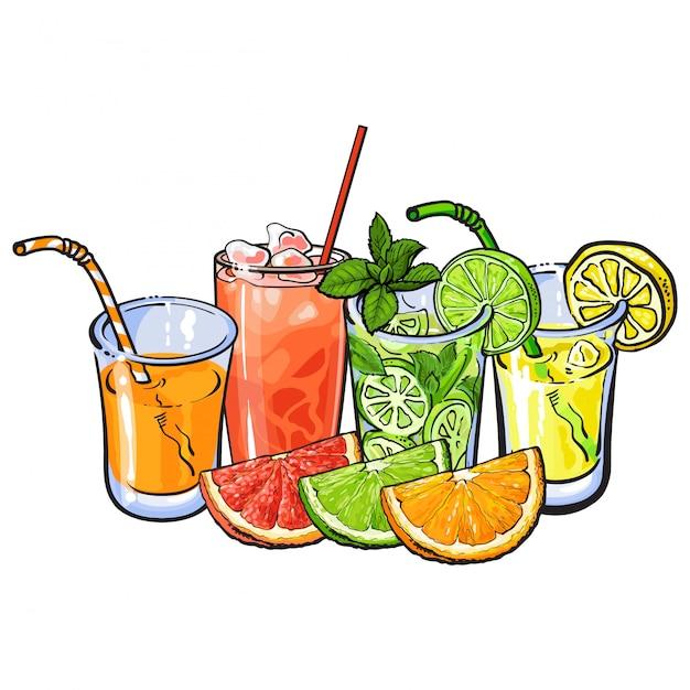 Bicchieri di succo di frutta Vettore Premium