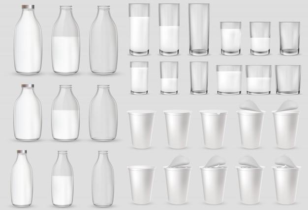 Bicchieri di vetro, bottiglie, bicchieri di plastica, pacchetti Vettore Premium