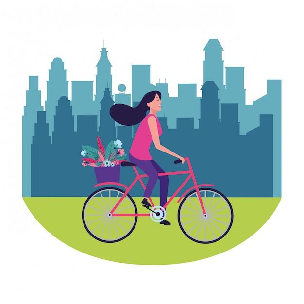 Bici da equitazione donna con fiore Vettore Premium