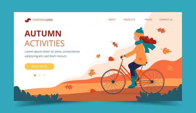 Bici di guida della ragazza nel parco in autunno. modello di pagina di destinazione. Vettore Premium