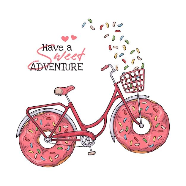 Bicicletta con ciambelle al posto delle ruote. Vettore Premium