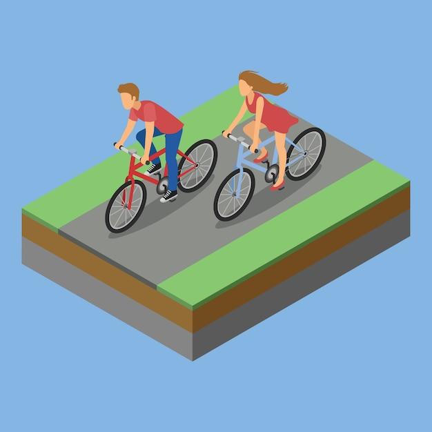 Bicicletta isometrica di attività del parco Vettore Premium