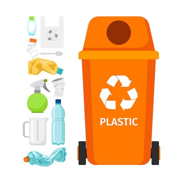 Bidone della spazzatura arancione con plastica Vettore Premium