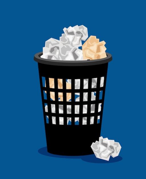 Bidone della spazzatura e documenti accartocciati Vettore Premium