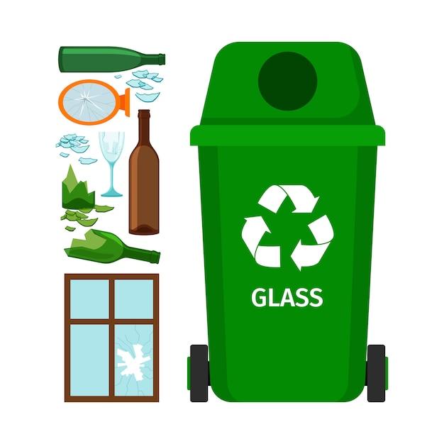 Bidone della spazzatura verde con vetro Vettore Premium