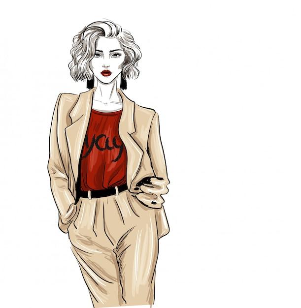 Biege vestito alla moda donna guarda schizzo di moda Vettore Premium