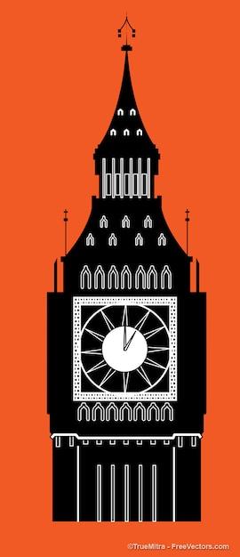 Big ben torre dell'orologio silhouette Vettore gratuito