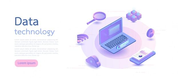Big data, archiviazione delle informazioni sul cloud. illustrazione vettoriale isometrica. Vettore Premium