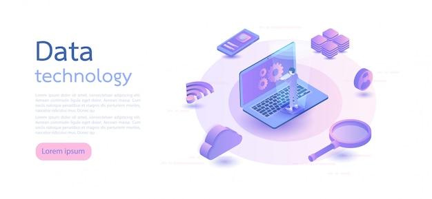 Big data, archiviazione di informazioni sul cloud, tecnologia di trasferimento globale. illustrazione vettoriale isometrica. Vettore Premium