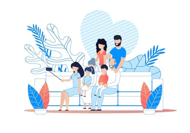 Big family selfie su smartphone cartoon. Vettore Premium
